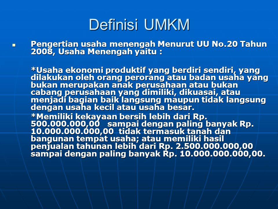 Definisi UMKM Pengertian usaha menengah Menurut UU No.20 Tahun 2008, Usaha Menengah yaitu : Pengertian usaha menengah Menurut UU No.20 Tahun 2008, Usa