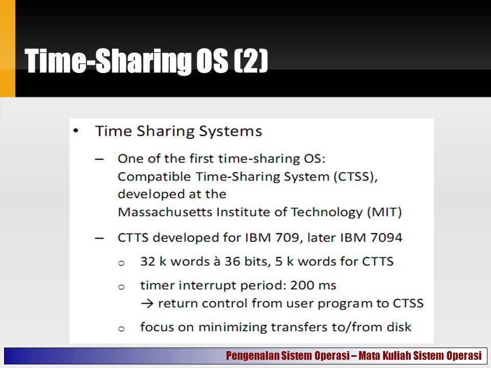 Time-Sharing OS (3) Pengenalan Sistem Operasi – Mata Kuliah Sistem Operasi
