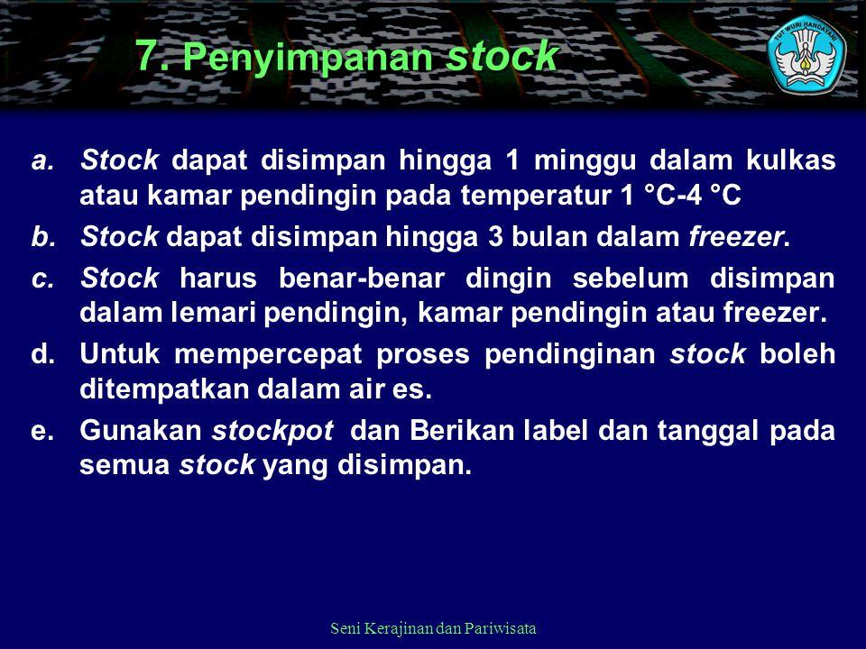7. Penyimpanan stock a.Stock dapat disimpan hingga 1 minggu dalam kulkas atau kamar pendingin pada temperatur 1 °C-4 °C b.Stock dapat disimpan hingga