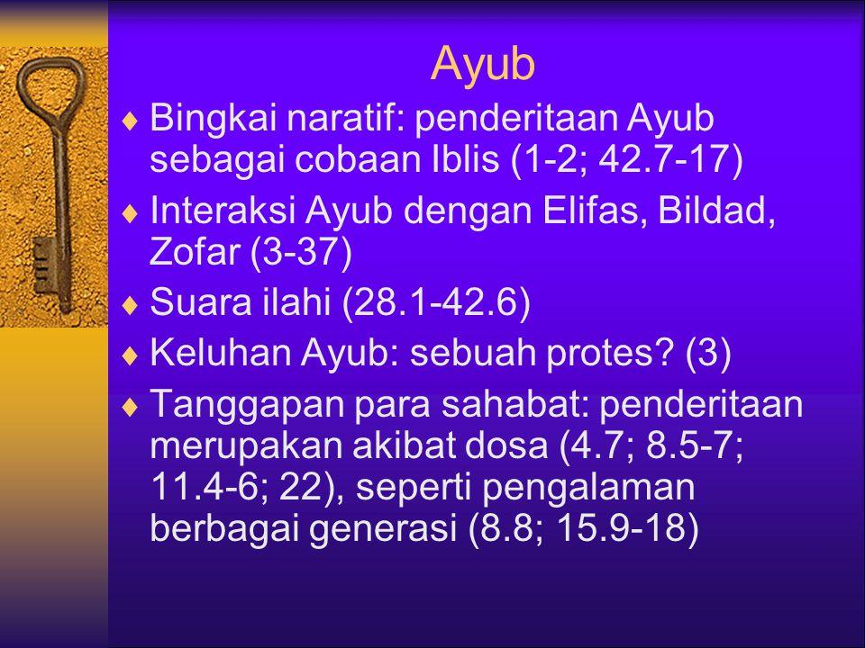 Ayub  Bingkai naratif: penderitaan Ayub sebagai cobaan Iblis (1-2; 42.7-17)  Interaksi Ayub dengan Elifas, Bildad, Zofar (3-37)  Suara ilahi (28.1-42.6)  Keluhan Ayub: sebuah protes.