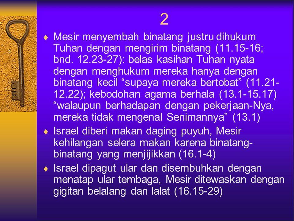 2  Mesir menyembah binatang justru dihukum Tuhan dengan mengirim binatang (11.15-16; bnd.