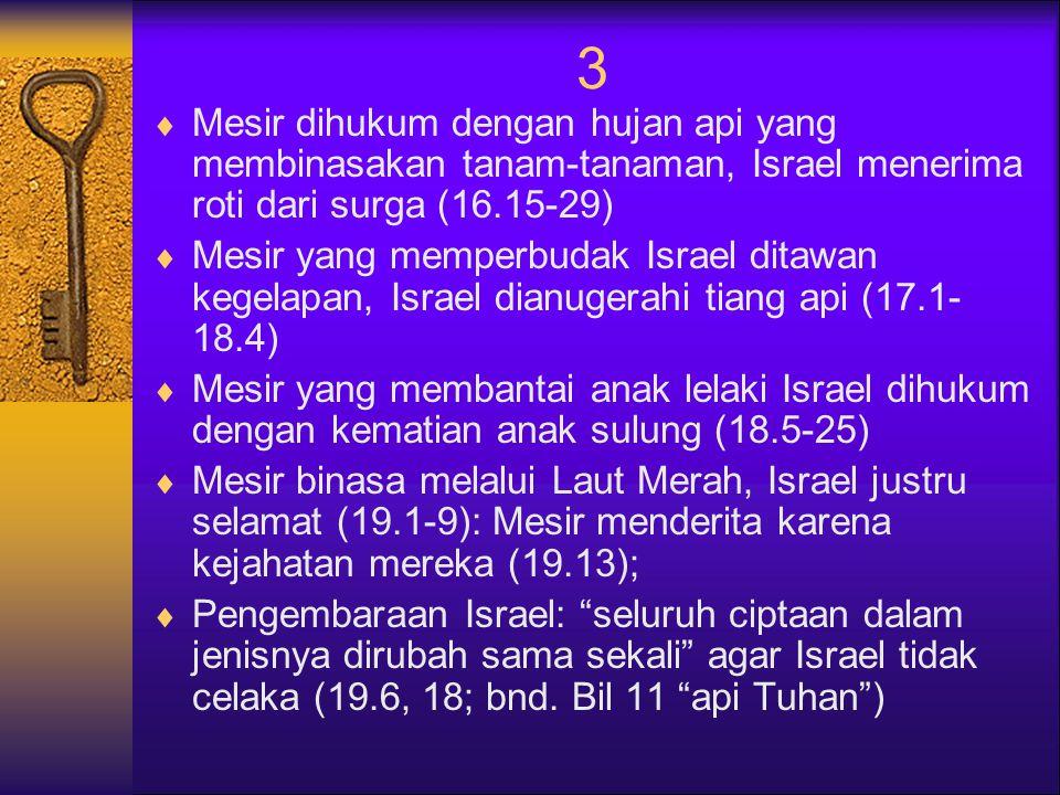 3  Mesir dihukum dengan hujan api yang membinasakan tanam-tanaman, Israel menerima roti dari surga (16.15-29)  Mesir yang memperbudak Israel ditawan kegelapan, Israel dianugerahi tiang api (17.1- 18.4)  Mesir yang membantai anak lelaki Israel dihukum dengan kematian anak sulung (18.5-25)  Mesir binasa melalui Laut Merah, Israel justru selamat (19.1-9): Mesir menderita karena kejahatan mereka (19.13);  Pengembaraan Israel: seluruh ciptaan dalam jenisnya dirubah sama sekali agar Israel tidak celaka (19.6, 18; bnd.