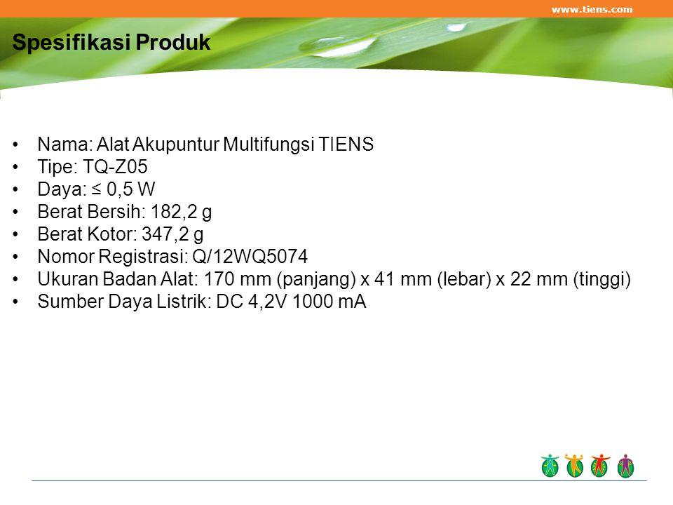 Nama: Alat Akupuntur Multifungsi TIENS Tipe: TQ-Z05 Daya: ≤ 0,5 W Berat Bersih: 182,2 g Berat Kotor: 347,2 g Nomor Registrasi: Q/12WQ5074 Ukuran Badan