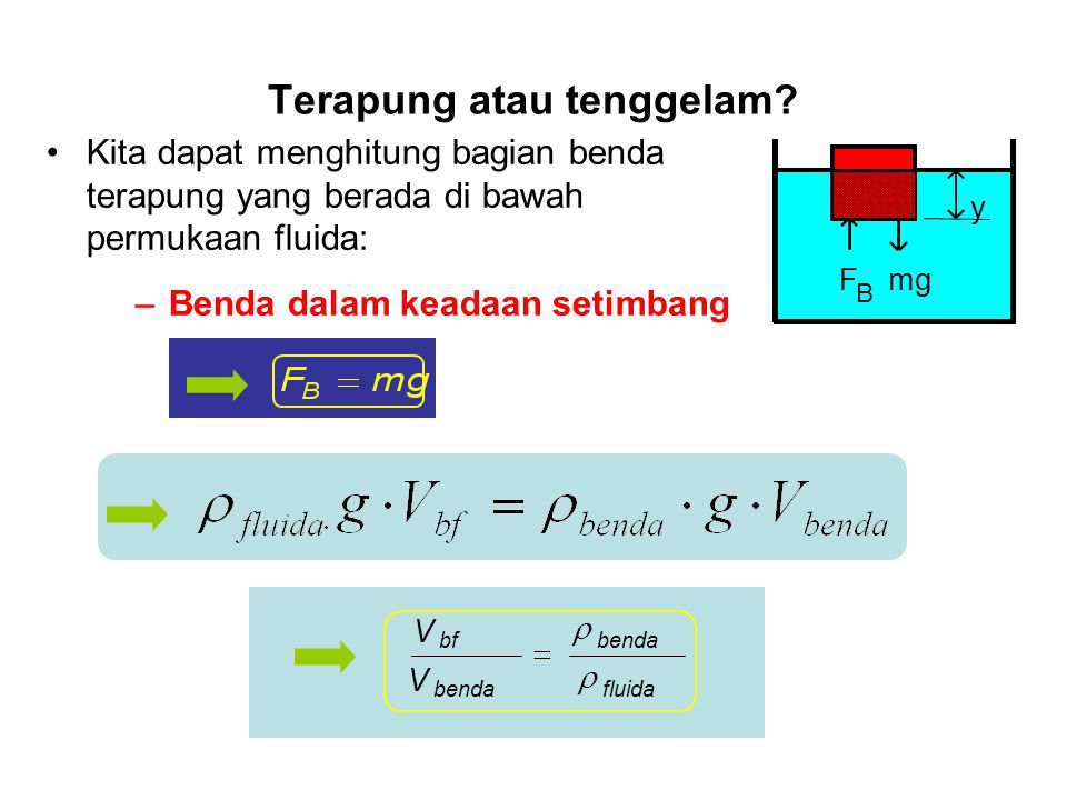 Gaya apung sama dengan selisih tekanan dikalikan luas. Archimedes : Gaya apung sama dengan berat volume fluida yang dipindahkan oleh benda. Besar gaya