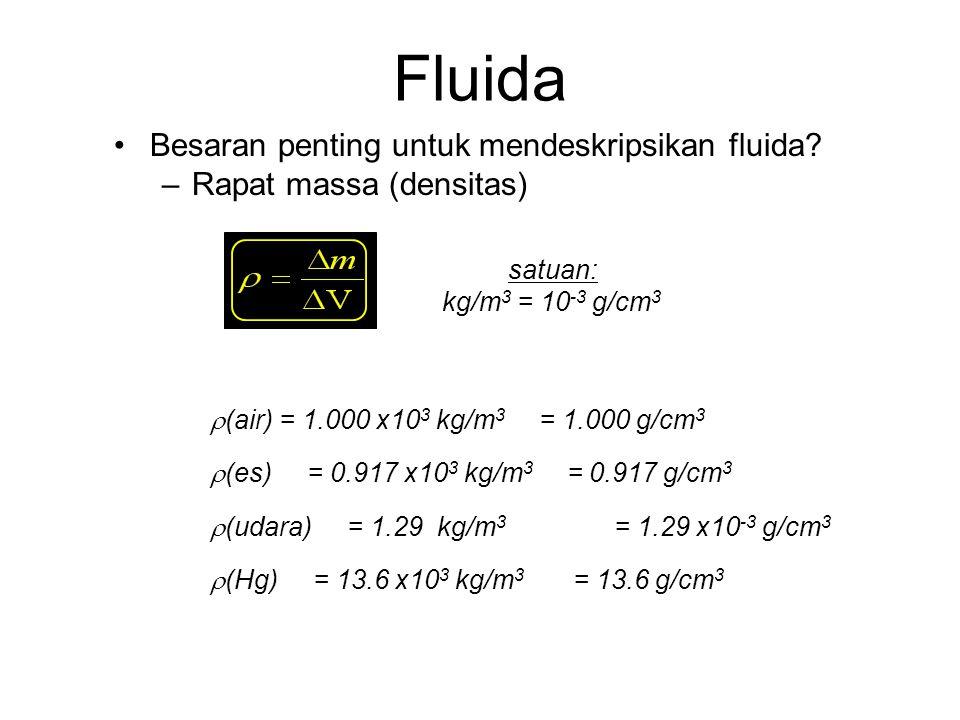 "Fluida Pada temperatur normal, zat dapat berwujud: –Padatan/Solid –Cair/Liquid –Gas ""Fluida""? ""Zat yang dapat mengalir dan memiliki bentuk seperti wad"