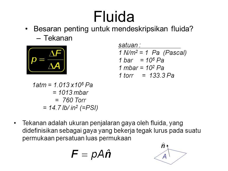 Besaran penting untuk mendeskripsikan fluida? –Rapat massa (densitas) satuan: kg/m 3 = 10 -3 g/cm 3  (air) = 1.000 x10 3 kg/m 3 = 1.000 g/cm 3  (es)