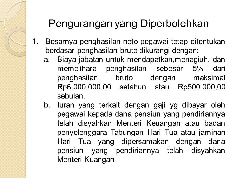 Pengurangan yang Diperbolehkan 1.Besarnya penghasilan neto pegawai tetap ditentukan berdasar penghasilan bruto dikurangi dengan: a.Biaya jabatan untuk mendapatkan,menagiuh, dan memelihara penghasilan sebesar 5% dari penghasilan bruto dengan maksimal Rp6.000.000,00 setahun atau Rp500.000,00 sebulan.