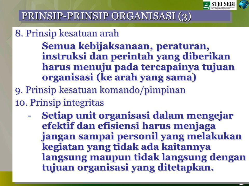 TRAINING ORGANISASI, BSI 28 DESEMBER 2008, VILLA CIBODAS PRINSIP-PRINSIP ORGANISASI (2) 5.