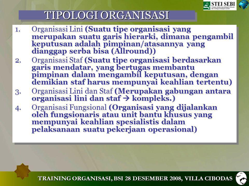 TRAINING ORGANISASI, BSI 28 DESEMBER 2008, VILLA CIBODAS PRINSIP-PRINSIP ORGANISASI (5) 11.