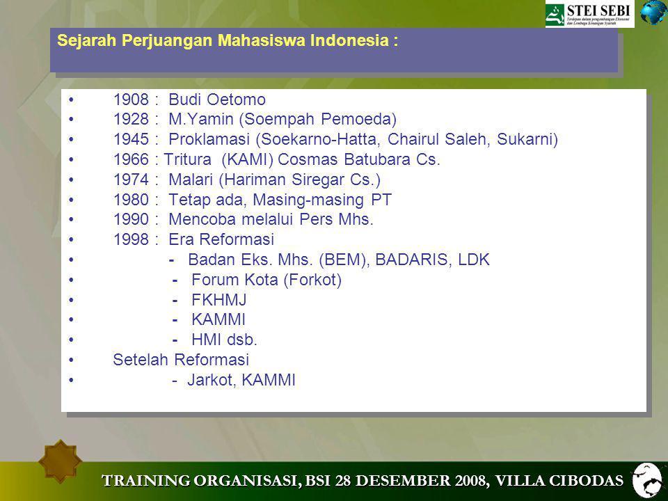 TRAINING ORGANISASI, BSI 28 DESEMBER 2008, VILLA CIBODAS MENGAPA DIPERLUKAN ORGANISASI MAHASISWA.