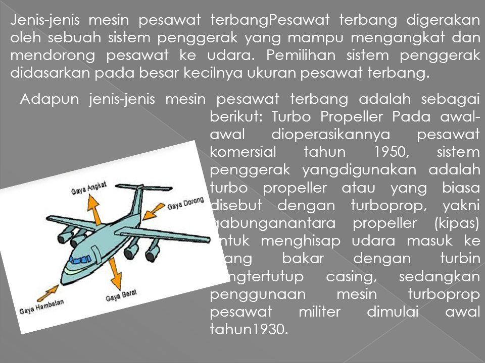 Jenis-jenis mesin pesawat terbangPesawat terbang digerakan oleh sebuah sistem penggerak yang mampu mengangkat dan mendorong pesawat ke udara.