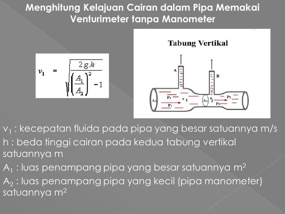 Menghitung Kelajuan Cairan dalam Pipa Memakai Venturimeter tanpa Manometer v 1 : kecepatan fluida pada pipa yang besar satuannya m/s h : beda tinggi cairan pada kedua tabung vertikal satuannya m A 1 : luas penampang pipa yang besar satuannya m 2 A 2 : luas penampang pipa yang kecil (pipa manometer) satuannya m 2