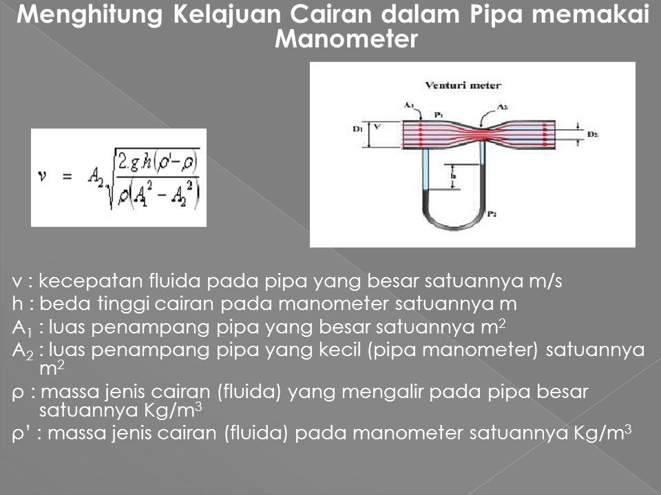 Menghitung Kelajuan Cairan dalam Pipa memakai Manometer v : kecepatan fluida pada pipa yang besar satuannya m/s h : beda tinggi cairan pada manometer satuannya m A 1 : luas penampang pipa yang besar satuannya m 2 A 2 : luas penampang pipa yang kecil (pipa manometer) satuannya m 2 ρ : massa jenis cairan (fluida) yang mengalir pada pipa besar satuannya Kg/m 3 ρ' : massa jenis cairan (fluida) pada manometer satuannya Kg/m 3