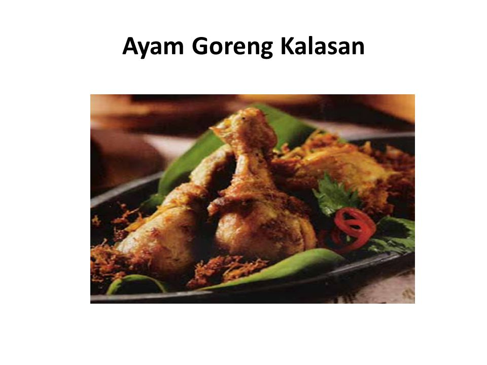 Bahan: Cara Membuat Ayam Goreng Kalasan: Rebus ayam dengan air kelapa, soda kue, bawang putih, dan garam hingga empuk dan airnya habis.