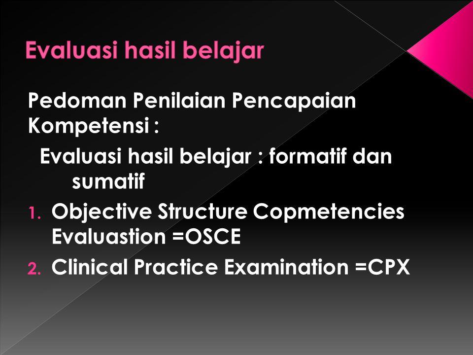 Pedoman Penilaian Pencapaian Kompetensi : Evaluasi hasil belajar : formatif dan sumatif 1. Objective Structure Copmetencies Evaluastion =OSCE 2. Clini