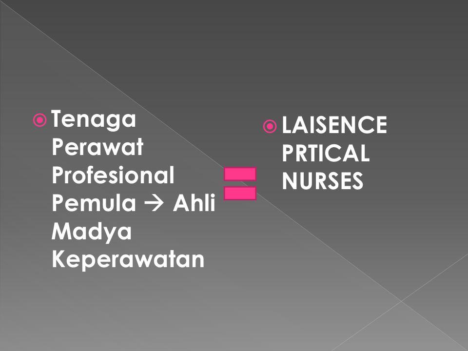  Tenaga Perawat Profesional Pemula  Ahli Madya Keperawatan  LAISENCE PRTICAL NURSES