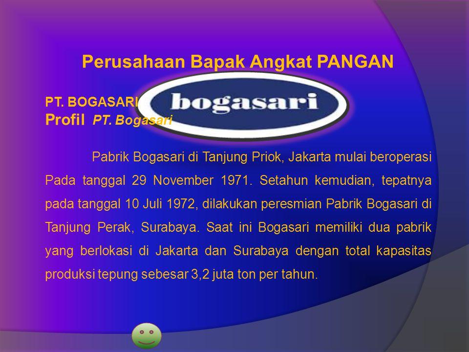 Perusahaan Bapak Angkat PANGAN PT. BOGASARI Profil PT. Bogasari Pabrik Bogasari di Tanjung Priok, Jakarta mulai beroperasi Pada tanggal 29 November 19