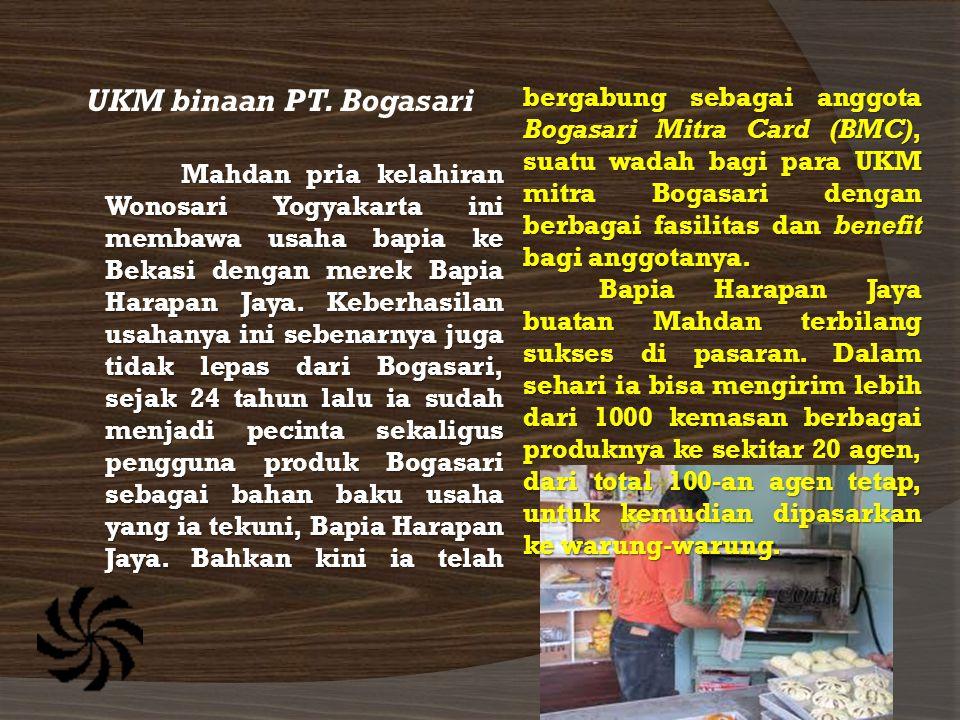 UKM binaan PT. Bogasari Mahdan pria kelahiran Wonosari Yogyakarta ini membawa usaha bapia ke Bekasi dengan merek Bapia Harapan Jaya. Keberhasilan usah