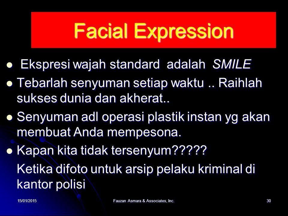 Facial Expression Ekspresi wajah standard adalah SMILE Ekspresi wajah standard adalah SMILE Tebarlah senyuman setiap waktu.. Raihlah sukses dunia dan