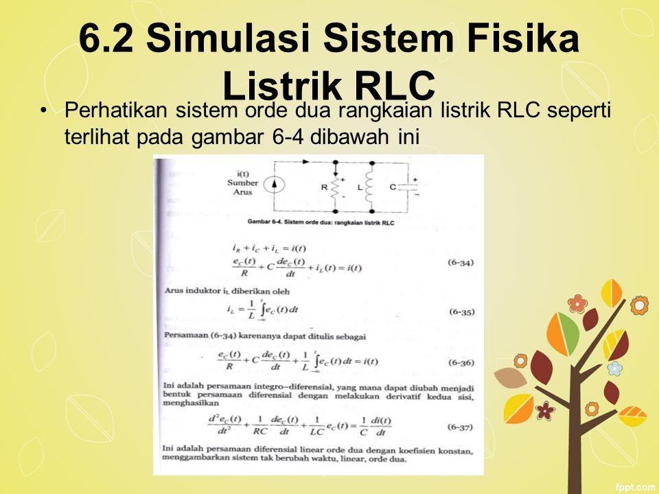 6.2 Simulasi Sistem Fisika Listrik RLC Perhatikan sistem orde dua rangkaian listrik RLC seperti terlihat pada gambar 6-4 dibawah ini