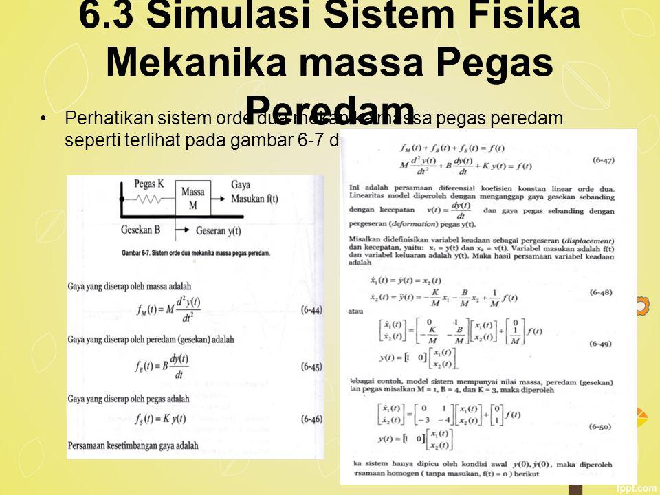 6.3 Simulasi Sistem Fisika Mekanika massa Pegas Peredam Perhatikan sistem orde dua mekanika massa pegas peredam seperti terlihat pada gambar 6-7 dibaw