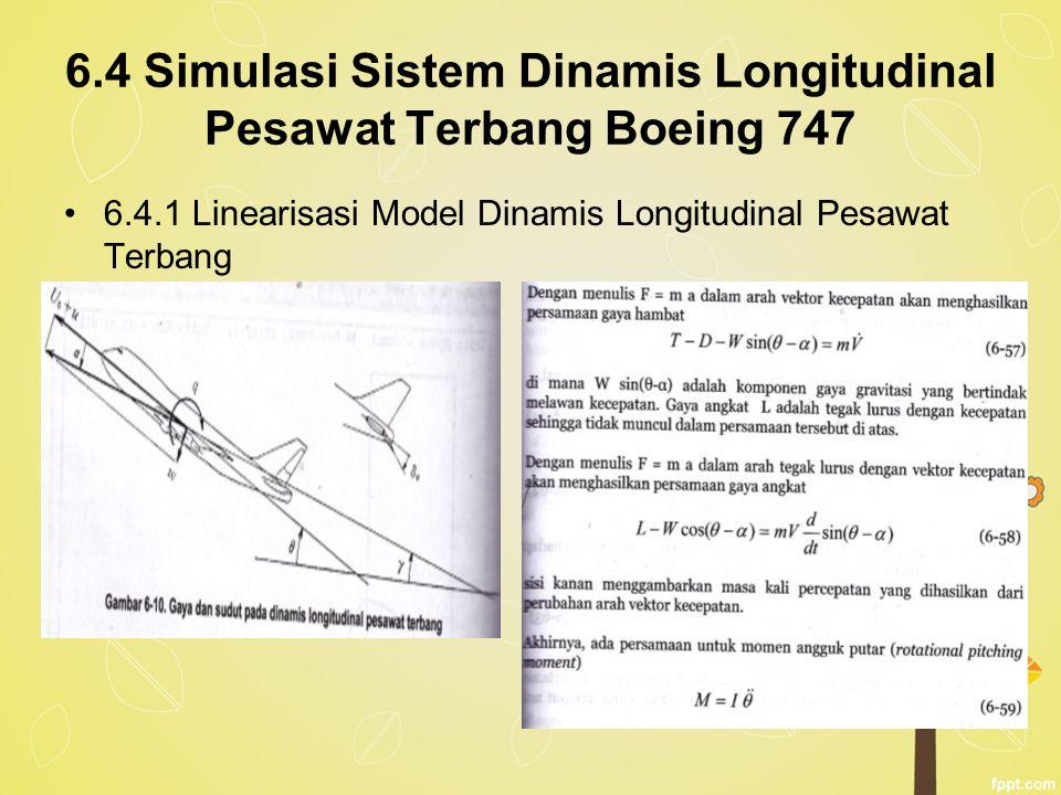 6.4 Simulasi Sistem Dinamis Longitudinal Pesawat Terbang Boeing 747 6.4.1 Linearisasi Model Dinamis Longitudinal Pesawat Terbang