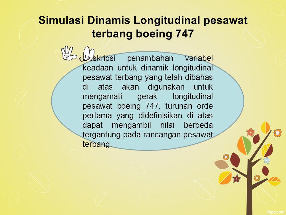 Simulasi Dinamis Longitudinal pesawat terbang boeing 747 Deskripsi penambahan variabel keadaan untuk dinamik longitudinal pesawat terbang yang telah d