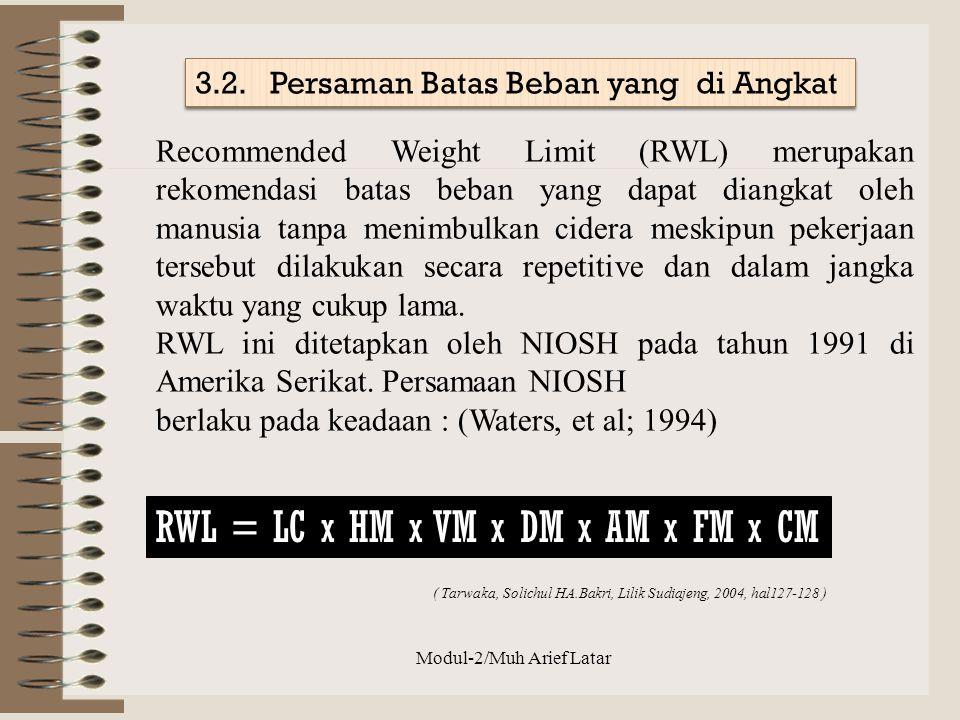 Recommended Weight Limit (RWL) merupakan rekomendasi batas beban yang dapat diangkat oleh manusia tanpa menimbulkan cidera meskipun pekerjaan tersebut