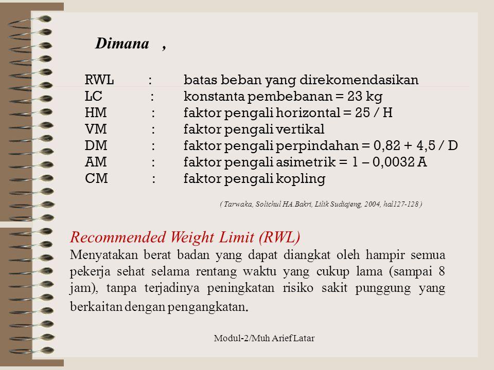 RWL : batas beban yang direkomendasikan LC : konstanta pembebanan = 23 kg HM : faktor pengali horizontal = 25 / H VM : faktor pengali vertikal DM : fa