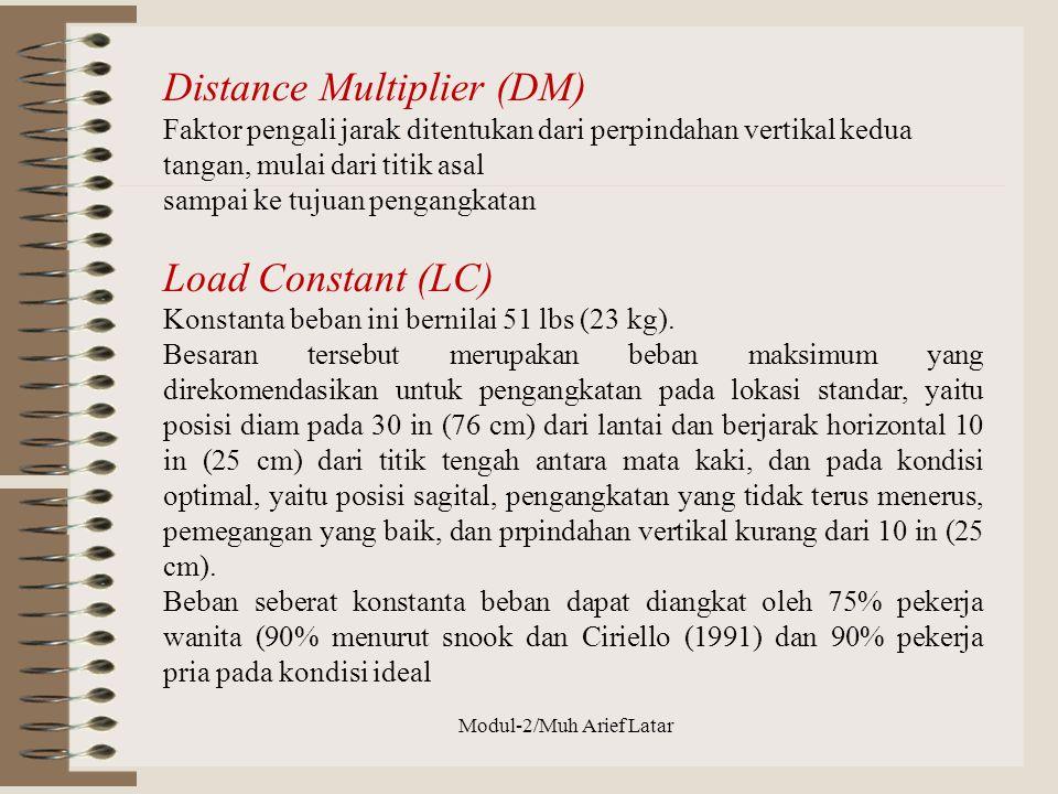 Distance Multiplier (DM) Faktor pengali jarak ditentukan dari perpindahan vertikal kedua tangan, mulai dari titik asal sampai ke tujuan pengangkatan L