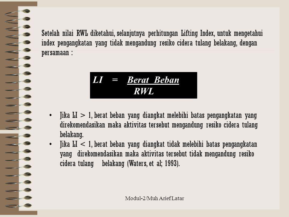 Modul-2/Muh Arief Latar LI = Berat Beban RWL Jika LI > 1, berat beban yang diangkat melebihi batas pengangkatan yang direkomendasikan maka aktivitas t