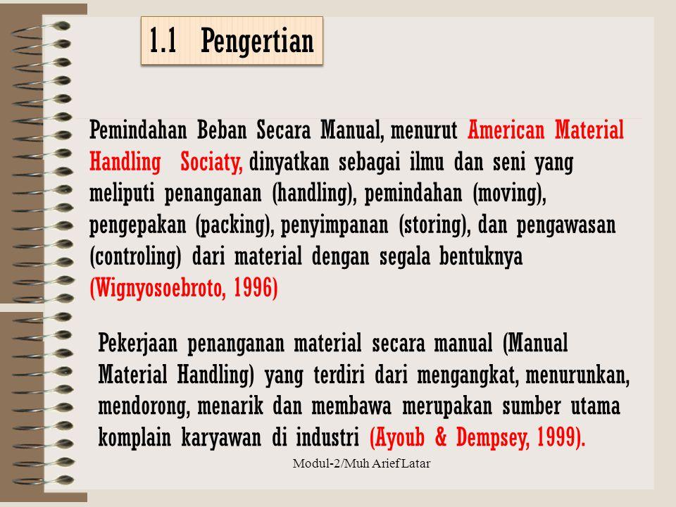 1.1 Pengertian Pemindahan Beban Secara Manual, menurut American Material Handling Sociaty, dinyatkan sebagai ilmu dan seni yang meliputi penanganan (h