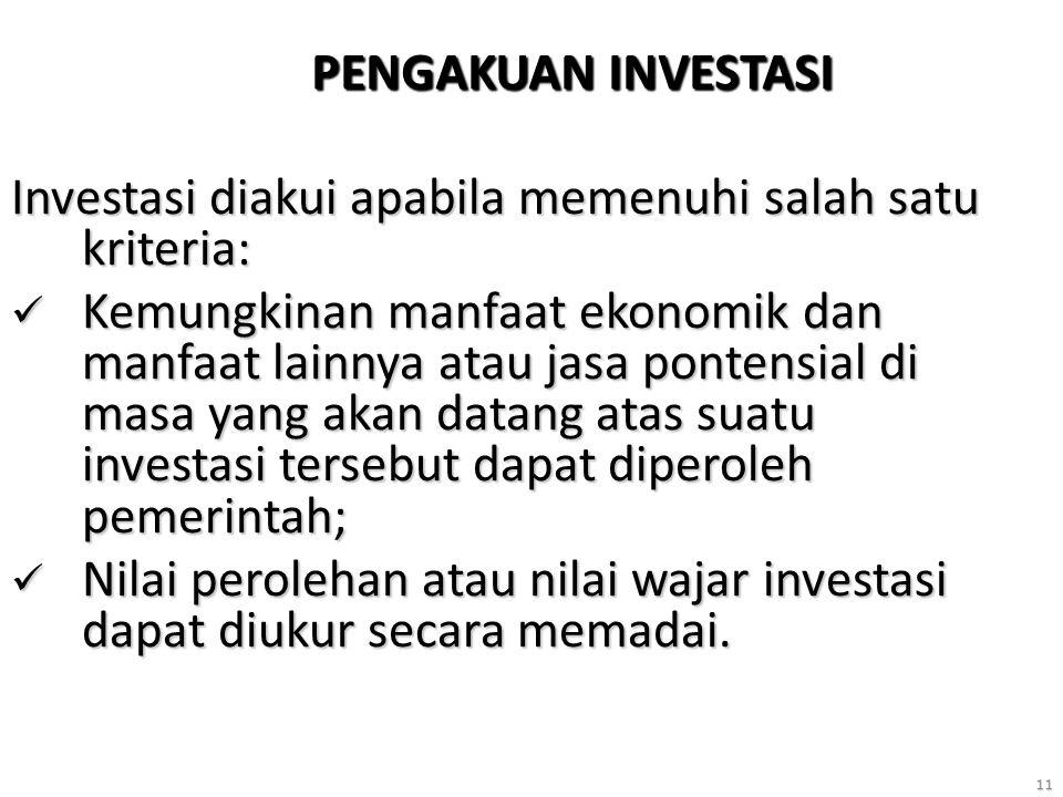 11 PENGAKUAN INVESTASI Investasi diakui apabila memenuhi salah satu kriteria: Kemungkinan manfaat ekonomik dan manfaat lainnya atau jasa pontensial di masa yang akan datang atas suatu investasi tersebut dapat diperoleh pemerintah; Kemungkinan manfaat ekonomik dan manfaat lainnya atau jasa pontensial di masa yang akan datang atas suatu investasi tersebut dapat diperoleh pemerintah; Nilai perolehan atau nilai wajar investasi dapat diukur secara memadai.