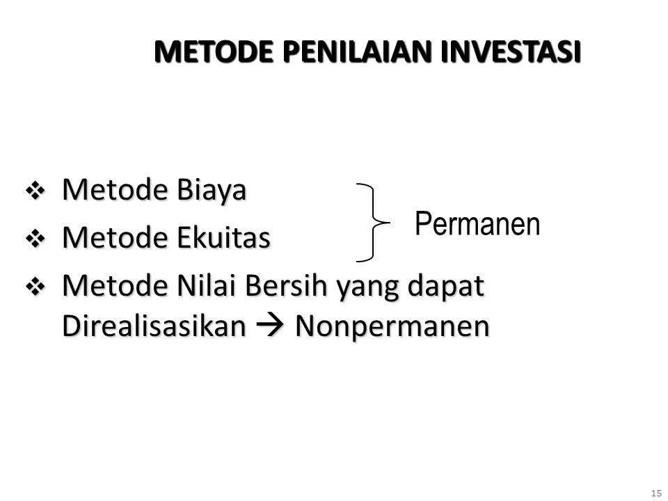 15 METODE PENILAIAN INVESTASI  Metode Biaya  Metode Ekuitas  Metode Nilai Bersih yang dapat Direalisasikan  Nonpermanen Permanen