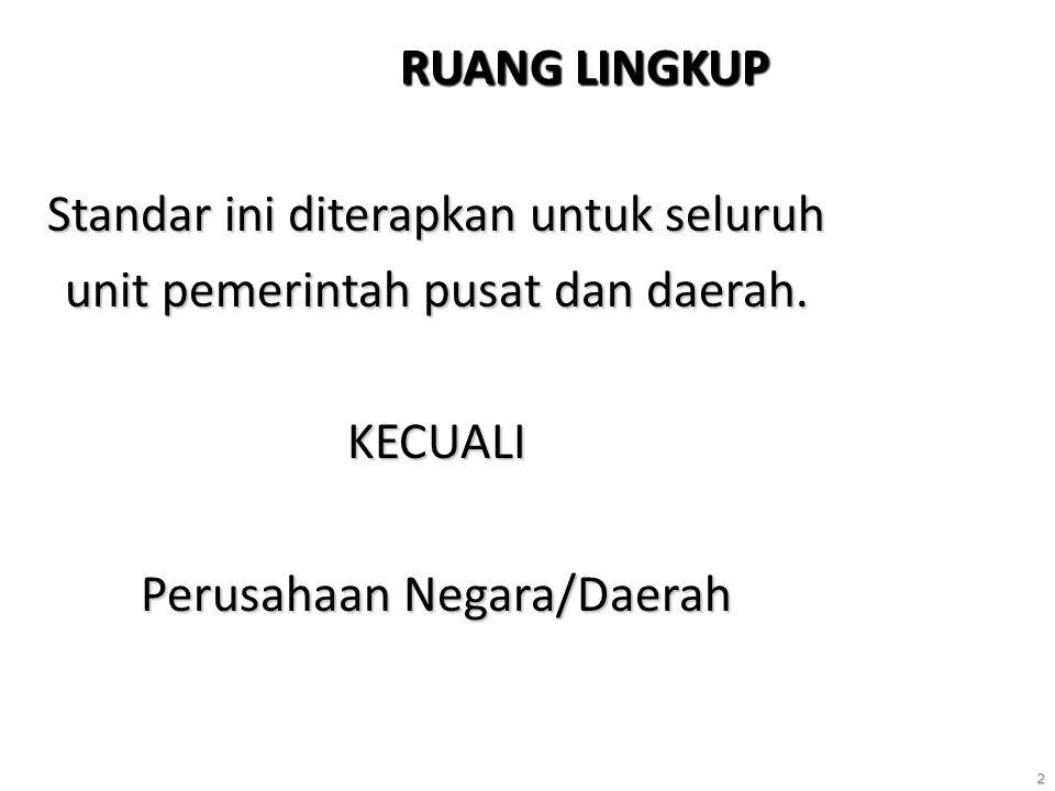 2 RUANG LINGKUP Standar ini diterapkan untuk seluruh unit pemerintah pusat dan daerah. KECUALI Perusahaan Negara/Daerah
