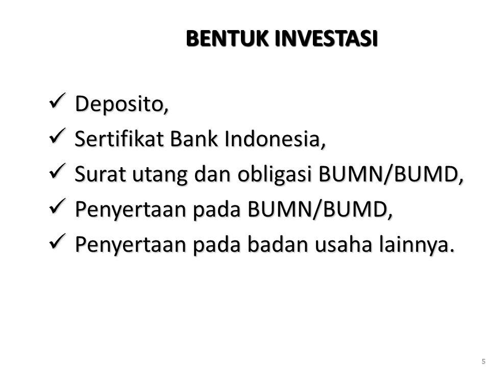 5 BENTUK INVESTASI Deposito, Deposito, Sertifikat Bank Indonesia, Sertifikat Bank Indonesia, Surat utang dan obligasi BUMN/BUMD, Surat utang dan obligasi BUMN/BUMD, Penyertaan pada BUMN/BUMD, Penyertaan pada BUMN/BUMD, Penyertaan pada badan usaha lainnya.