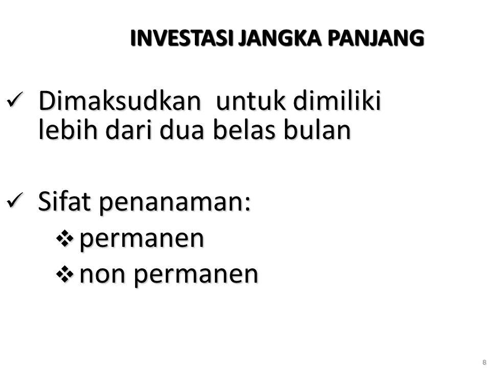 8 INVESTASI JANGKA PANJANG Dimaksudkan untuk dimiliki lebih dari dua belas bulan Dimaksudkan untuk dimiliki lebih dari dua belas bulan Sifat penanaman: Sifat penanaman:  permanen  non permanen