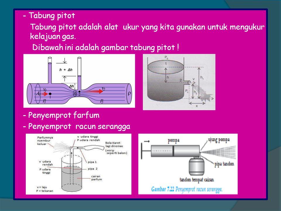 - Tabung pitot Tabung pitot adalah alat ukur yang kita gunakan untuk mengukur kelajuan gas. Dibawah ini adalah gambar tabung pitot ! - Penyemprot farf
