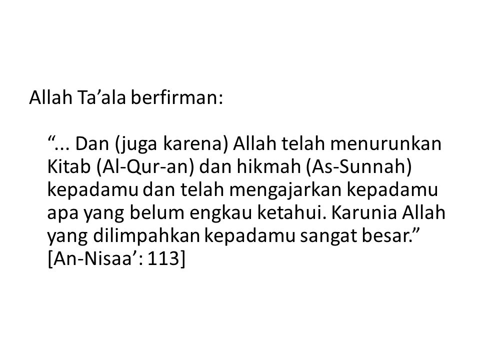 Allah Ta'ala berfirman: ...