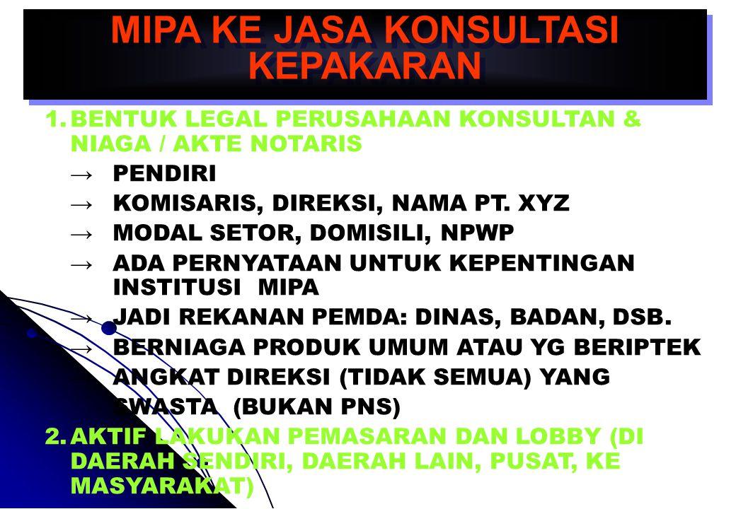MIPA KE JASA KONSULTASI KEPAKARAN 1.BENTUK LEGAL PERUSAHAAN KONSULTAN & NIAGA / AKTE NOTARIS → PENDIRI → KOMISARIS, DIREKSI, NAMA PT.