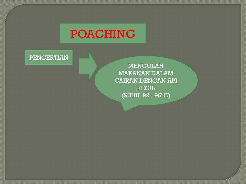 POACHING PENGERTIAN MENGOLAH MAKANAN DALAM CAIRAN DENGAN API KECIL (SUHU 92 - 96ºC)