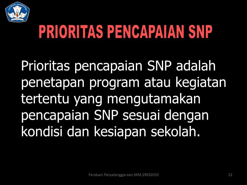 Panduan Penyelenggaraan SKM,2903201012 Prioritas pencapaian SNP adalah penetapan program atau kegiatan tertentu yang mengutamakan pencapaian SNP sesua