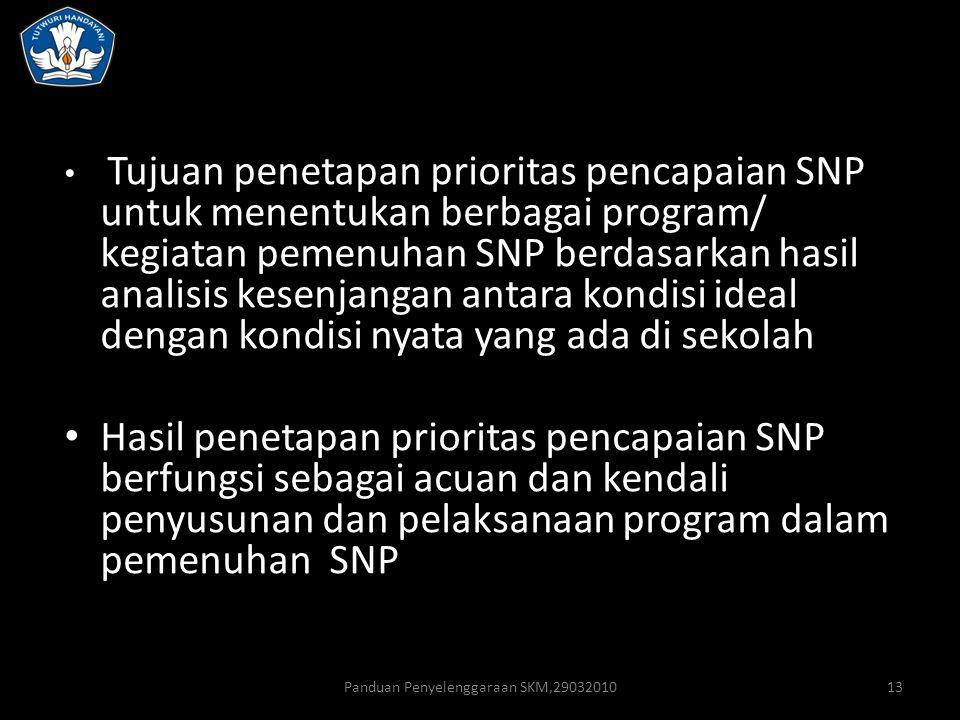 Panduan Penyelenggaraan SKM,2903201013 Tujuan penetapan prioritas pencapaian SNP untuk menentukan berbagai program/ kegiatan pemenuhan SNP berdasarkan