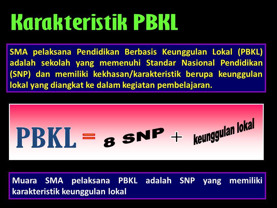 Muara SMA pelaksana PBKL adalah SNP yang memiliki karakteristik keunggulan lokal SMA pelaksana Pendidikan Berbasis Keunggulan Lokal (PBKL) adalah seko
