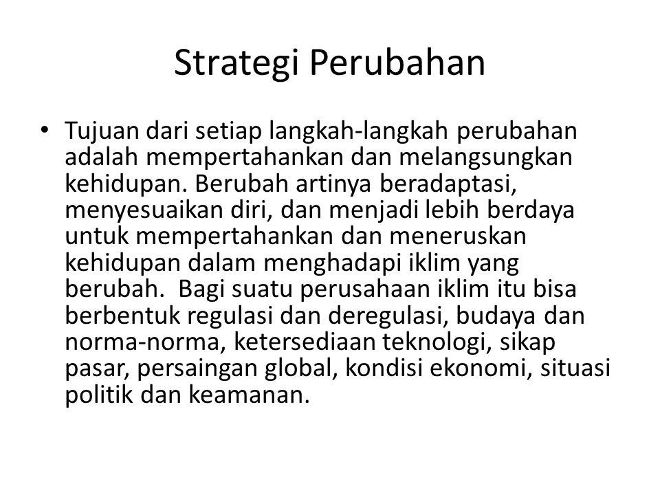 Strategi Perubahan Tujuan dari setiap langkah-langkah perubahan adalah mempertahankan dan melangsungkan kehidupan.