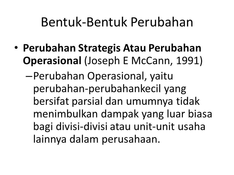 Bentuk-Bentuk Perubahan Perubahan Strategis Atau Perubahan Operasional (Joseph E McCann, 1991) – Perubahan Operasional, yaitu perubahan-perubahankecil yang bersifat parsial dan umumnya tidak menimbulkan dampak yang luar biasa bagi divisi-divisi atau unit-unit usaha lainnya dalam perusahaan.