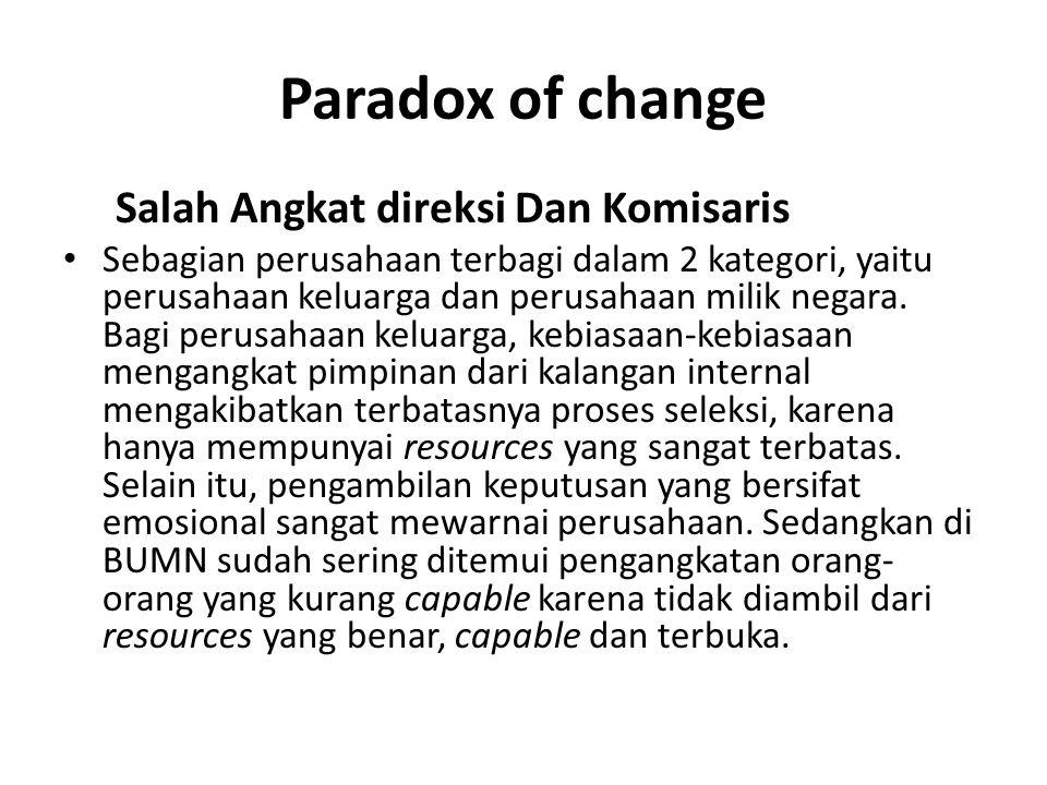 Paradox of change Salah Angkat direksi Dan Komisaris Sebagian perusahaan terbagi dalam 2 kategori, yaitu perusahaan keluarga dan perusahaan milik negara.