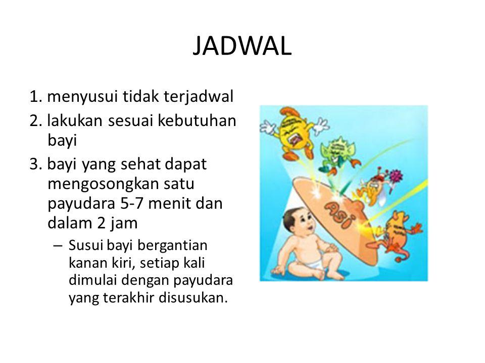 JADWAL 1. menyusui tidak terjadwal 2. lakukan sesuai kebutuhan bayi 3. bayi yang sehat dapat mengosongkan satu payudara 5-7 menit dan dalam 2 jam – Su
