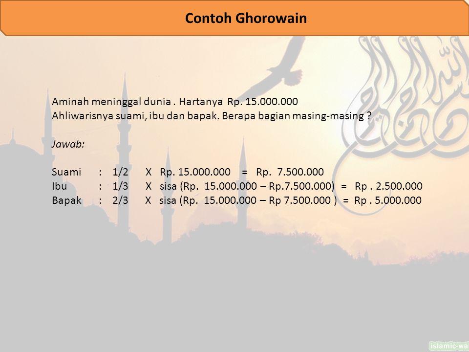 Aminah meninggal dunia.Hartanya Rp. 15.000.000 Ahliwarisnya suami, ibu dan bapak.