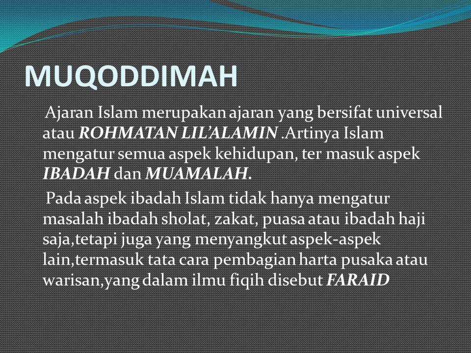 MUQODDIMAH Ajaran Islam merupakan ajaran yang bersifat universal atau ROHMATAN LIL'ALAMIN.Artinya Islam mengatur semua aspek kehidupan, ter masuk aspe